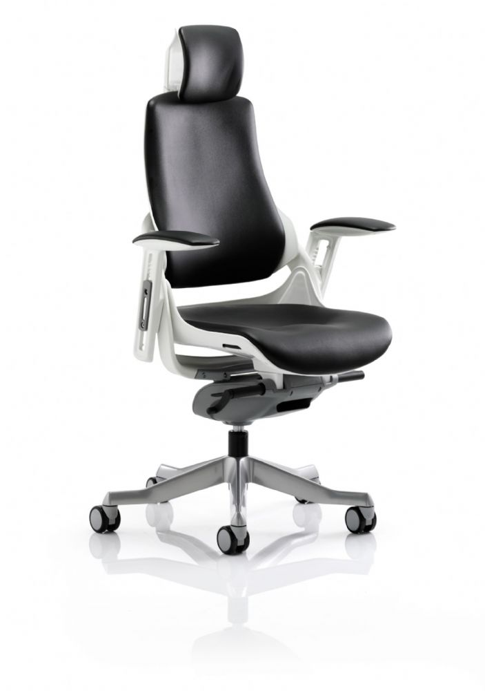 Zure Executive Task Chair Orthopaedic Designed Office Black Bonded Leather Headrest